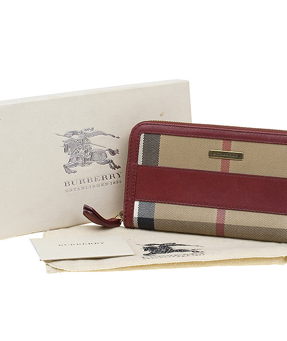Authentic Burberry Red House Check Wallet
