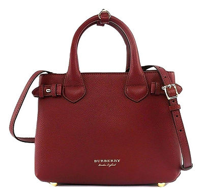 Burberry Small Banner House Check Leather Red Satchel bag