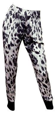 Authentic Stella mccartney Black with White Silk Chiffon Leopard Pants SZ40/M