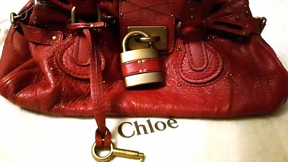 Authentic CHLOE Logos Paddington Shoulder Bag Leather red Padlock
