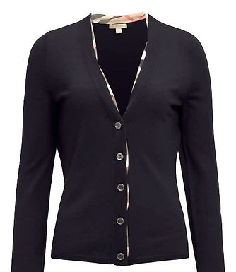 AUTHENTIC BURBERRY BRIT WOMENS WOOL CHECK SWEATER CARDIGAN L FIT M