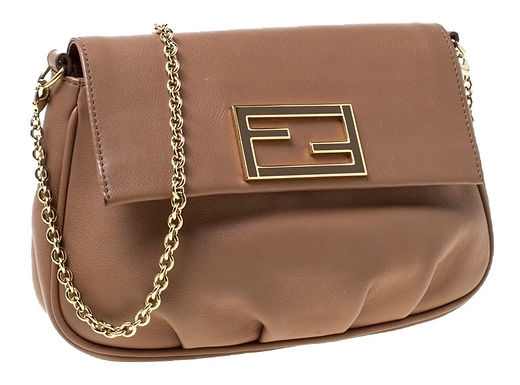 Authentic fend light brown Lambskin Leather Cross Body Bag