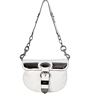 Authentic Gucci white & silver hardware. Leather Romy Messenger Bag
