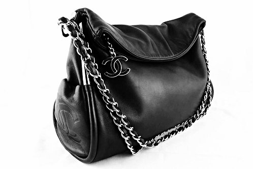 Authentic Chanel Black Lambskin Leather Ultimate Soft Bag