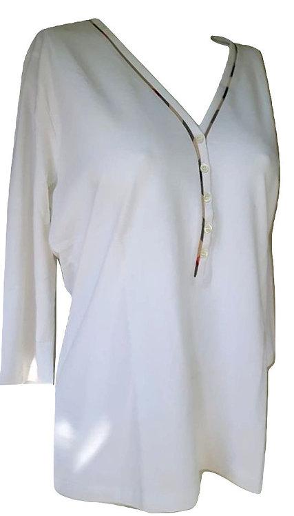 Authentic Burberry women's White T Shirt XL But Fit/ L / M