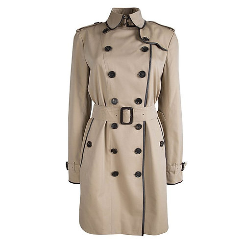 Authentic Burberry Beige Double Breasted Leather Trim Belted Trench Coat M