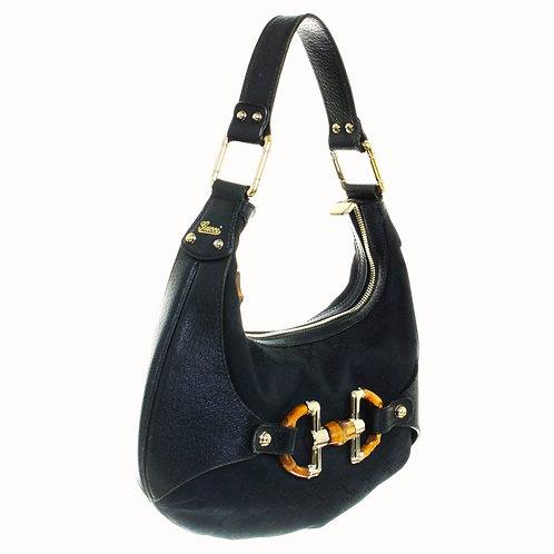 authentic gucci amalfi bag in signature logo black canvas/leather original price