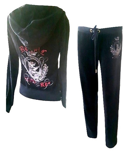 Authentic Juicy Couture Velour Hoodie Black Made in USA/SZ S