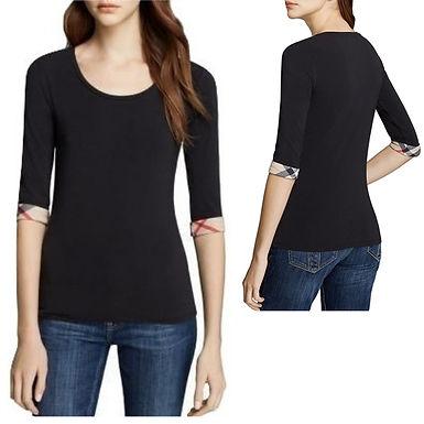 Authentic Burberry three 3/4 sleeve black T-shirt size M