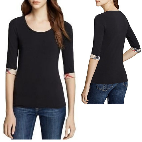 Authentic Burberry three 3/4 sleeve black T-shirt size M