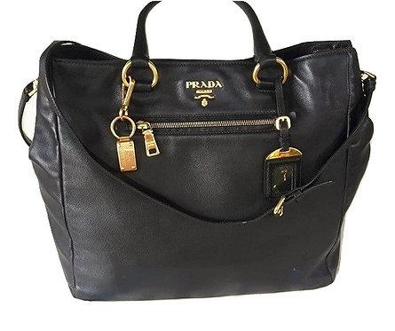 Authentic Prada Black Soft Calfskin Leather Shopping bag