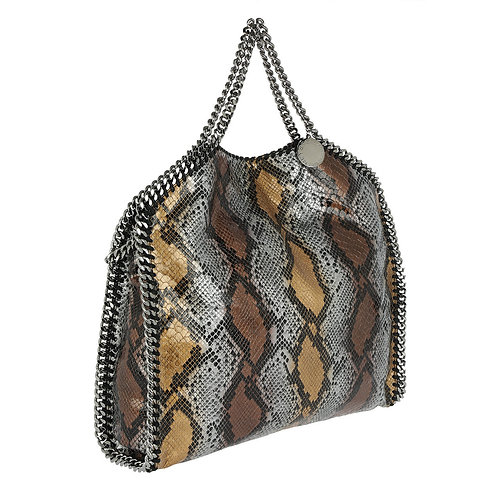 Authentic Stella McCartney Metallic Python Faux Leather Small Falabella Tote