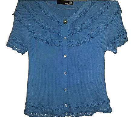 Authentic love moschino women blue stretch top blouse size Medium