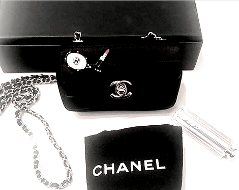 Authentic Chanel Black Satin Mini Flap Bag