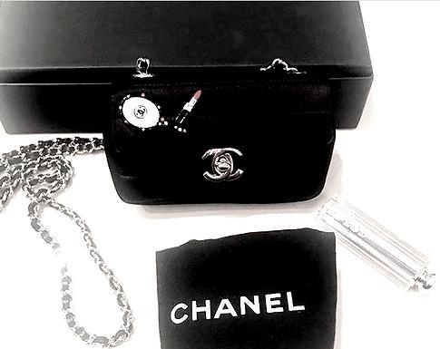 Authentic Chanel Black Satin Mini Flap Bag