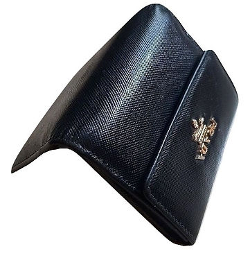 Authentic Prada mini leather black wallet