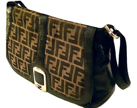 Authentic rare fendi black leather/canvas shoulder bag