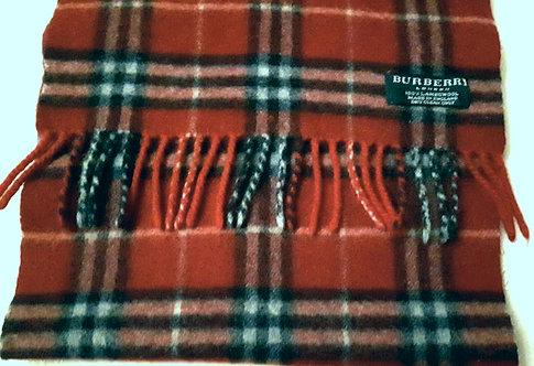 authentic Burberry London Wool Women's Scarf Nova Check Red Logo
