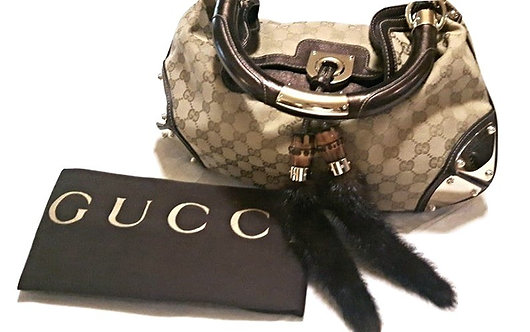 Authentic GUCCI Monogram Mink Indy Small Top Handle Bag. retail price 1795$