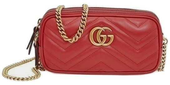 Authentic Gucci GG Marmont Mini Matelasse Leather Chain Cross Body Bag