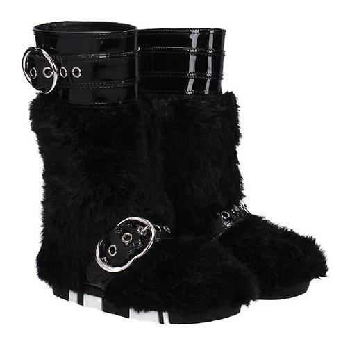 authentic miun miun by prada winter black boots fur fall SZ 37
