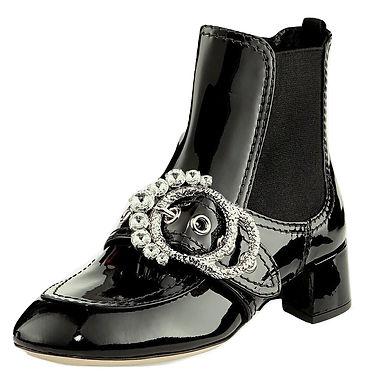 Authentic Miu Miu Black Crystal Boots Patent Leather/SZ 37