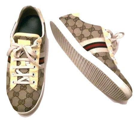 Authentic Gucci women Guccissima Canvas Web Detail Sneakers Size 37.5