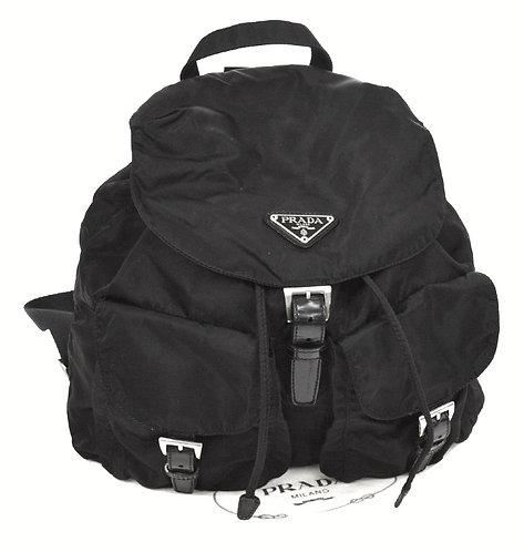 Authentic prada Logos Nylon Backpack Bag Black