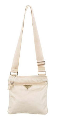 Prada White Vela Cross body Bag Perfect Condition. Nylon with front zip