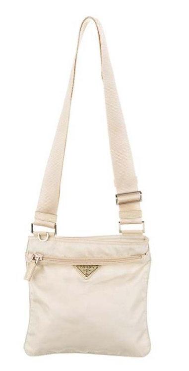 Prada White Vela Cross body Bag Perfect Condition. Nylon with front zip