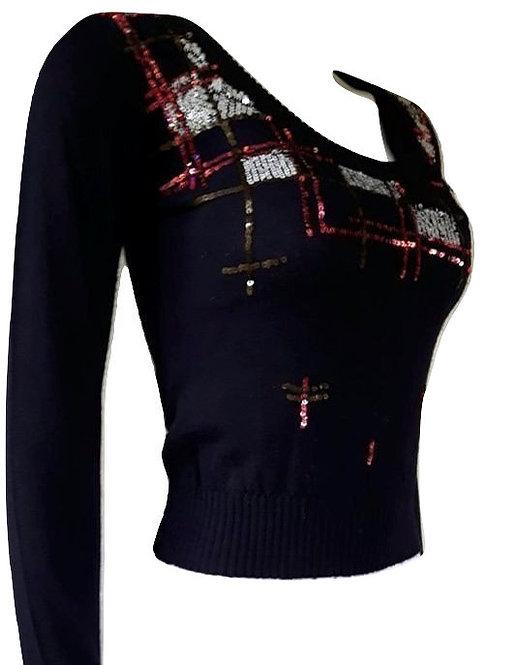 Authentic ferre women navy blue blouse SZ XS