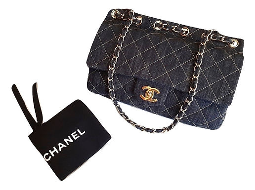 Authentic New Chanel Classic Flap Cc Dark Denim Shoulder Bag