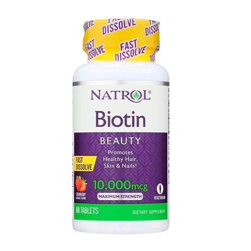 Biotina Beauty 10,000mcg Força Máxima, Dissolução Rápida Natrol - 60 Tabletes