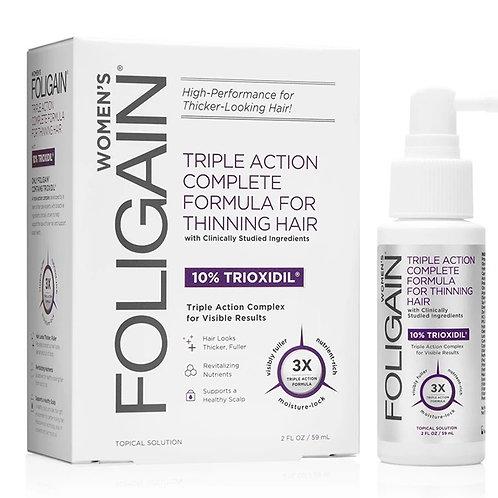 FOLIGAIN Ação tripla para cabelos finos P/ Mulheres 10% Trioxidil 59ml - 1 mês