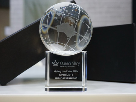 """Thank you QMUL for """"Going the Extra Mile"""" Award 2018"""