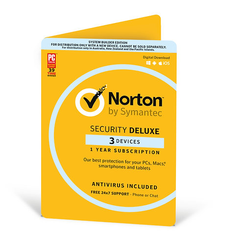 Norton Security Deluxe OEM (3 Devices), 1 Year, Digital Download (No CD Media)