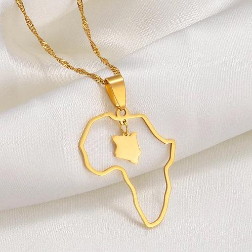 Kenya &  Africa Map necklace