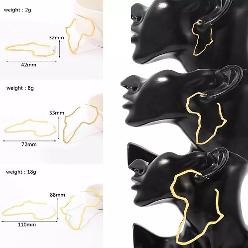 Africa Map earrings  4cm