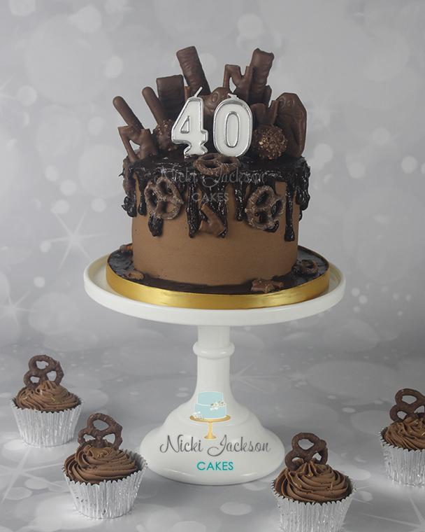 40th Chocolate Drip Cake