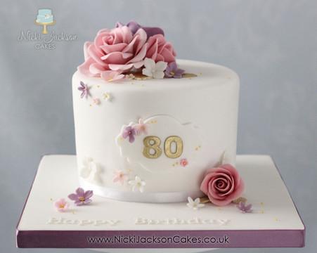 80th Birthday Floral Cake