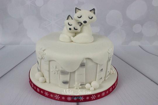 Snow Fox Christmas Cake