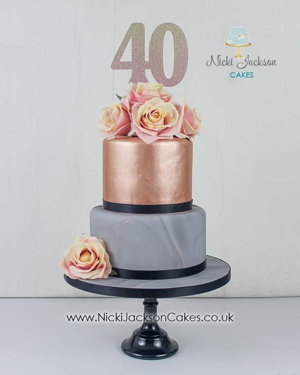 Grey Marble & Rose Gold cake