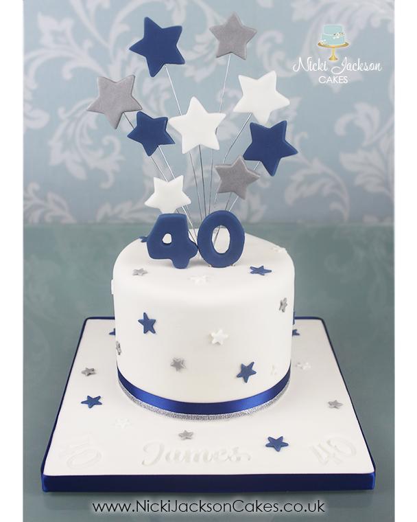 Blue & Silver Starburst Cake