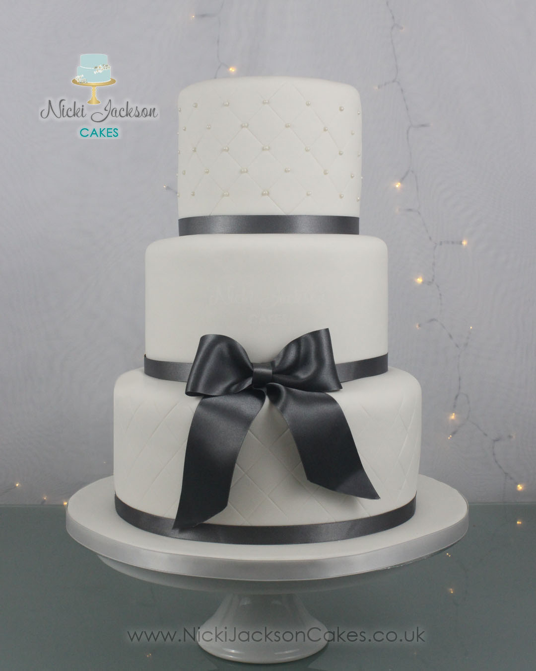 White & Grey Wedding Cake