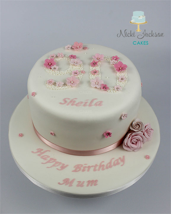 90th Floral cake