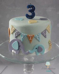Animal Bunting 3rd Birthday Cake