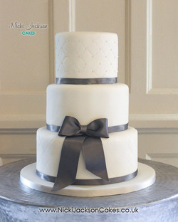 White & Grey Wedding Cake