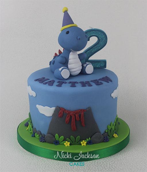 Dinosaur 2nd birthday cake
