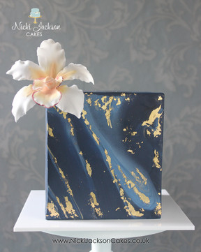 Navy & Gold Cube Cake
