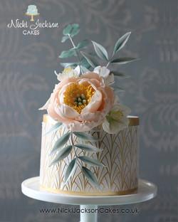 Stencilled floral cake